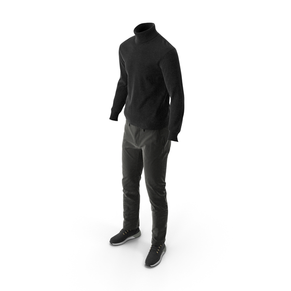 Clothing: Mens Boots Pants Pullover Black PNG & PSD Images