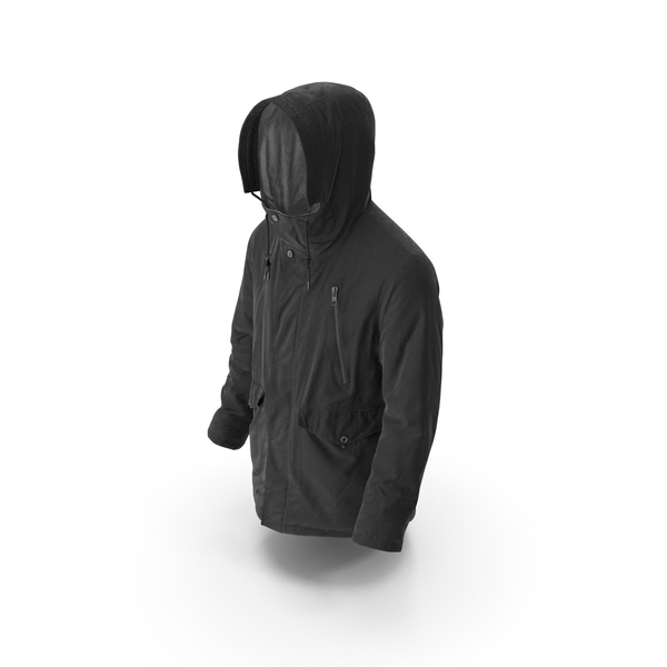 Mens Down Coat Black PNG & PSD Images
