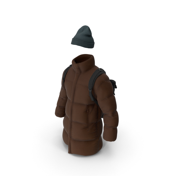 Mens Down Coat Hat and Backpack PNG & PSD Images