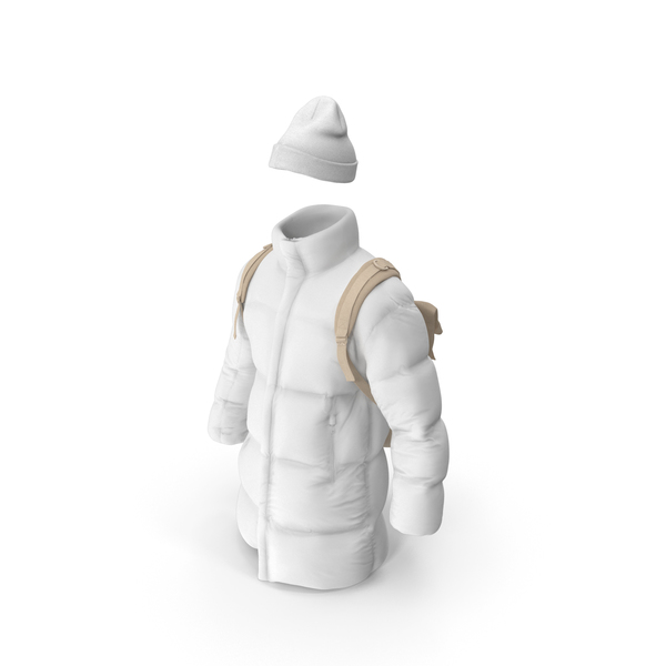 Mens Down Coat Hat Backpack Beige White PNG & PSD Images