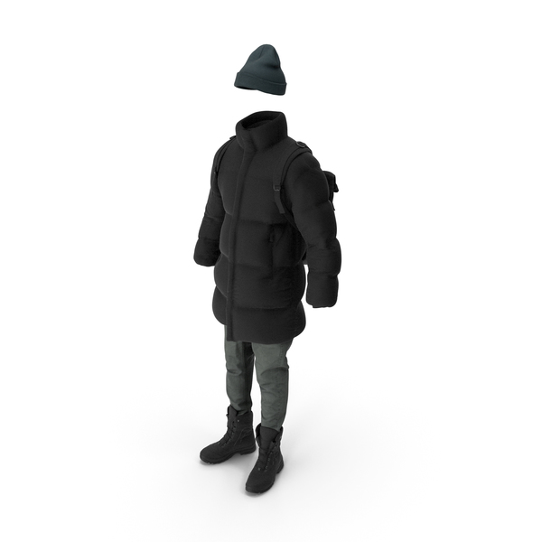Mens Down Coat Jeans Pullover Hat Backpack Boots  Black PNG & PSD Images