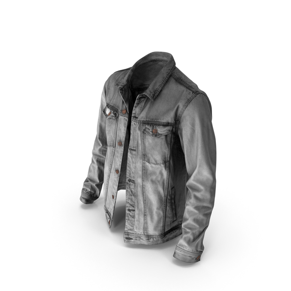 Mens Jean Jacket Dark Grey PNG & PSD Images