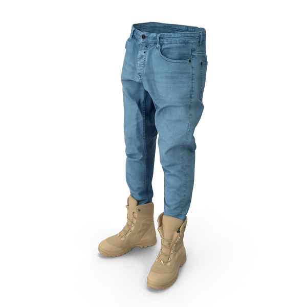 Mens Jeans and Beige Boots PNG & PSD Images