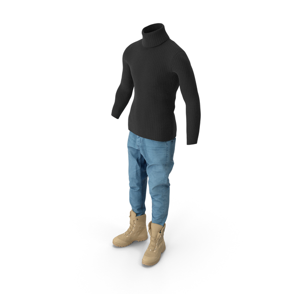 Clothing: Mens Jeans Black Pullover and Beige Boots PNG & PSD Images