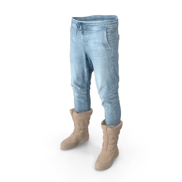 Mens Pants Boots Beige PNG & PSD Images