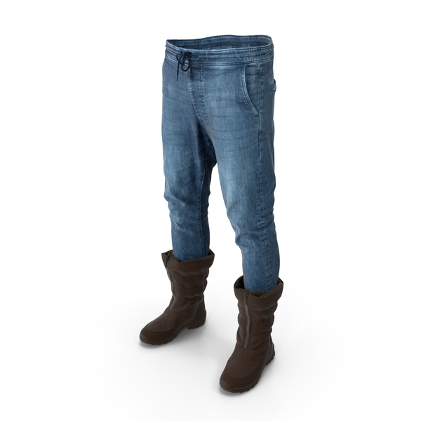 Mens Pants Boots (Brown) PNG & PSD Images