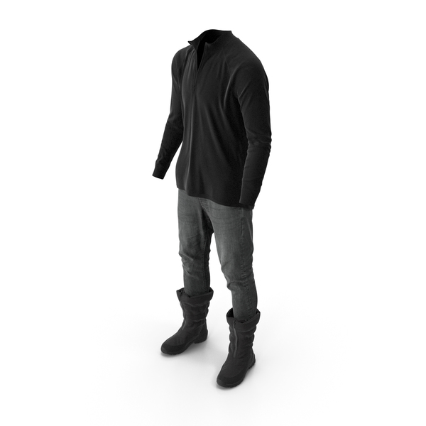 Clothing: Mens Pants Boots Pullover Black PNG & PSD Images
