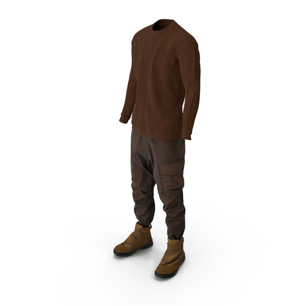 Clothing: Mens Pants Pullover And Boots Brown PNG & PSD Images
