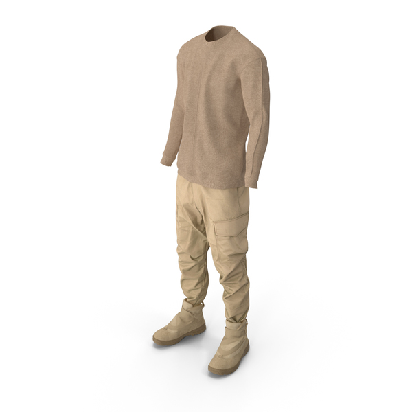 Mens Pants Pullover With Boots Beige PNG & PSD Images