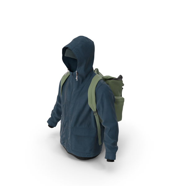 Clothing: Mens Pullover Jacket Backpack Hat Green Blue PNG & PSD Images