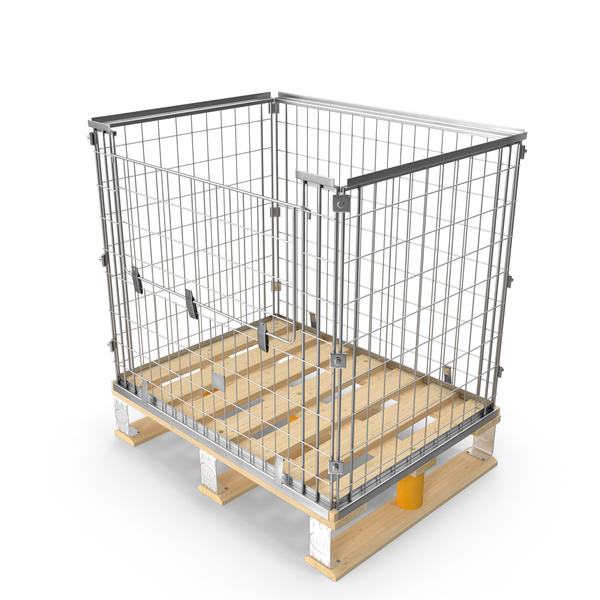 Mesh Cage on EPAL Euro Pallet PNG & PSD Images