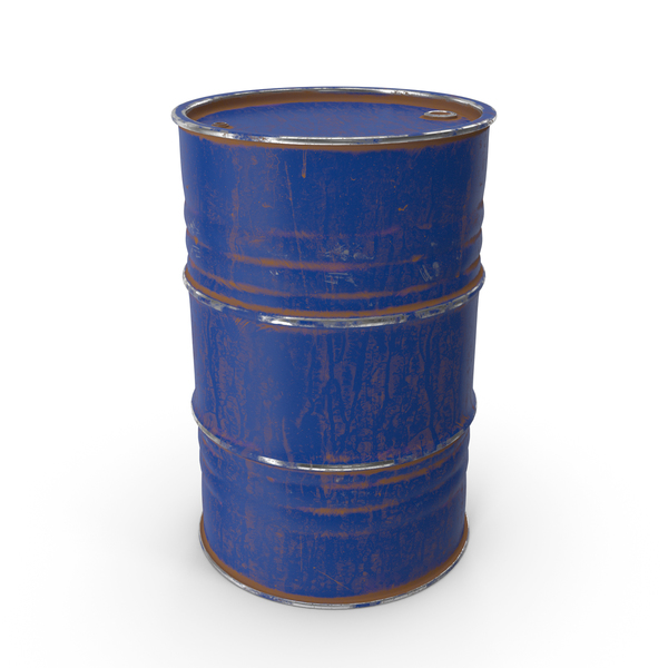 Metal Barrel Painted Blue PNG & PSD Images