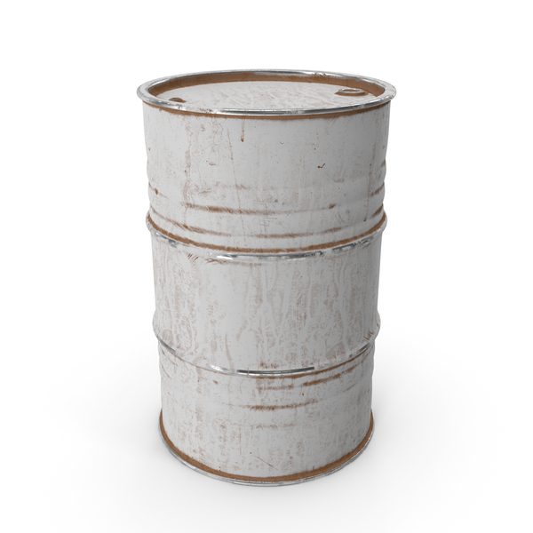 Metal Barrel Painted White PNG & PSD Images