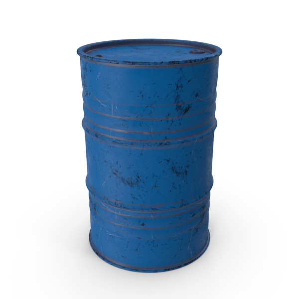 Metal Barrel Painted Worn Blue PNG & PSD Images