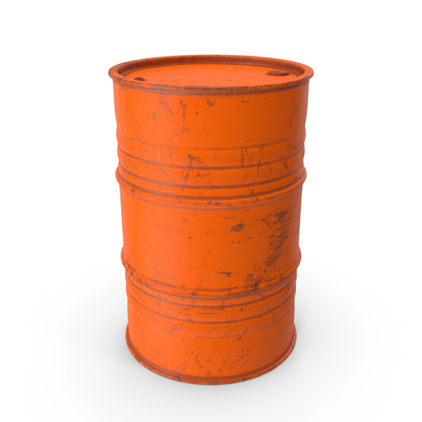 Metal Barrel Painted Worn Orange PNG & PSD Images