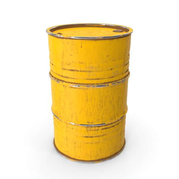 Metal Barrel Painted Yellow PNG & PSD Images