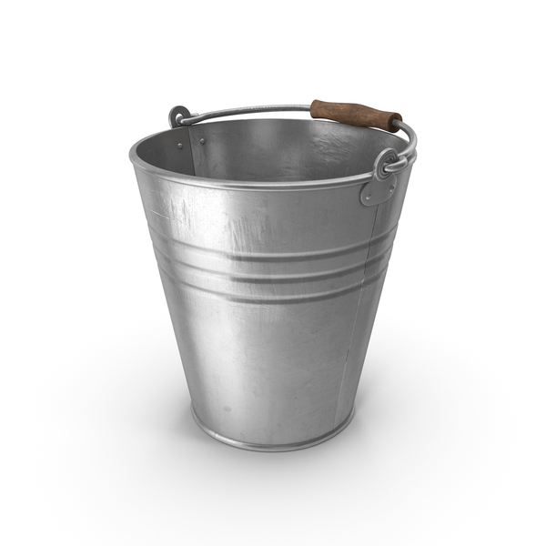 Metal Bucket With Wooden Handle PNG & PSD Images