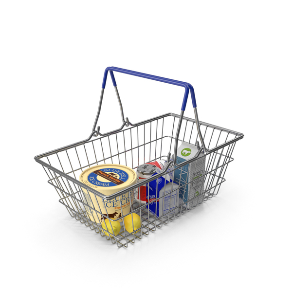 Metal Shopping Basket Filled with Goods PNG & PSD Images