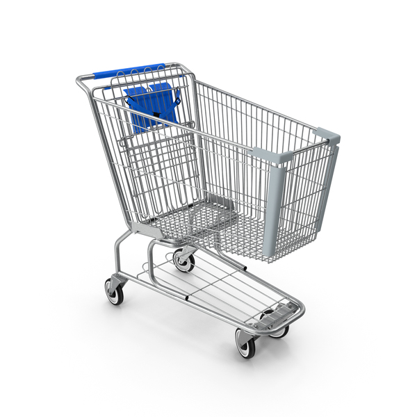Metal Shopping Cart Blue PNG & PSD Images