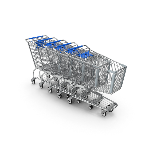 Metal Shopping Carts Blue Row PNG & PSD Images