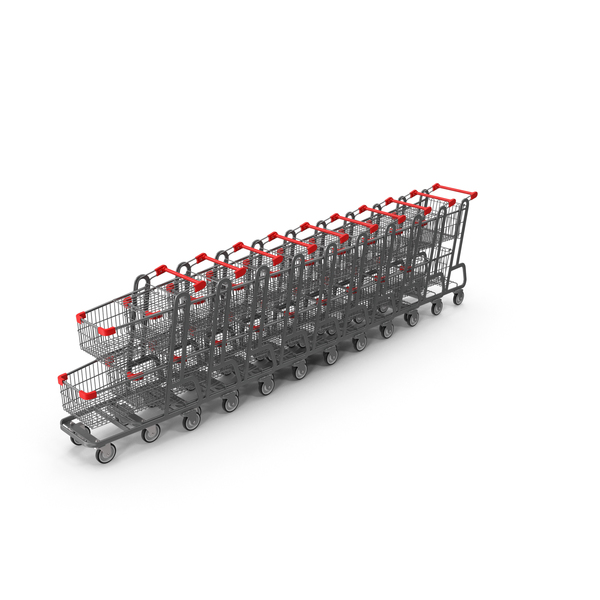 Metal Shopping Carts Row PNG & PSD Images