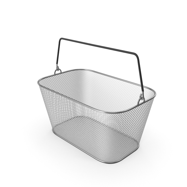 Metallic Shopping Wire Mesh Basket PNG & PSD Images