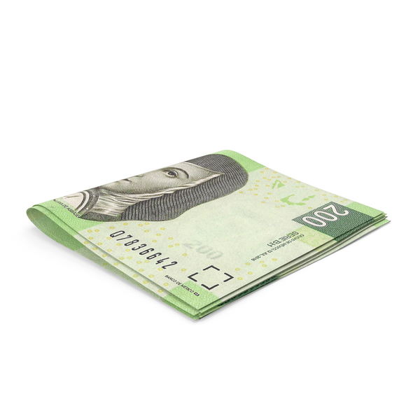 Banknote: Mexican Peso Banknotes Small Folded Stack PNG & PSD Images