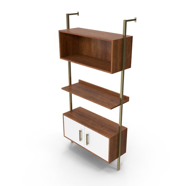 Mid-Century Modern Shelving System PNG & PSD Images