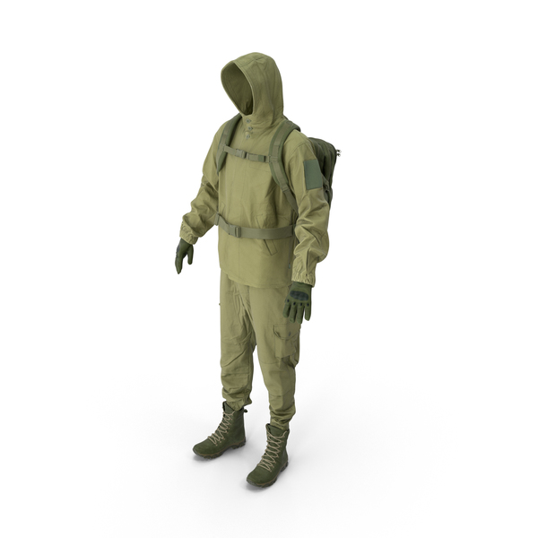 Military Green Uniform With Boots Gloves Backpack PNG & PSD Images