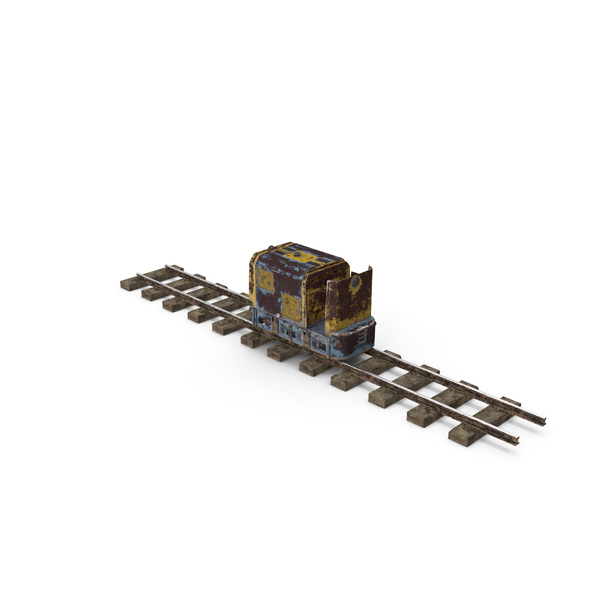 Cart: Mining Locomotive on Railway Section Rusted PNG & PSD Images