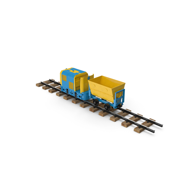 Mining Locomotive with Minecart on Railway Section PNG & PSD Images