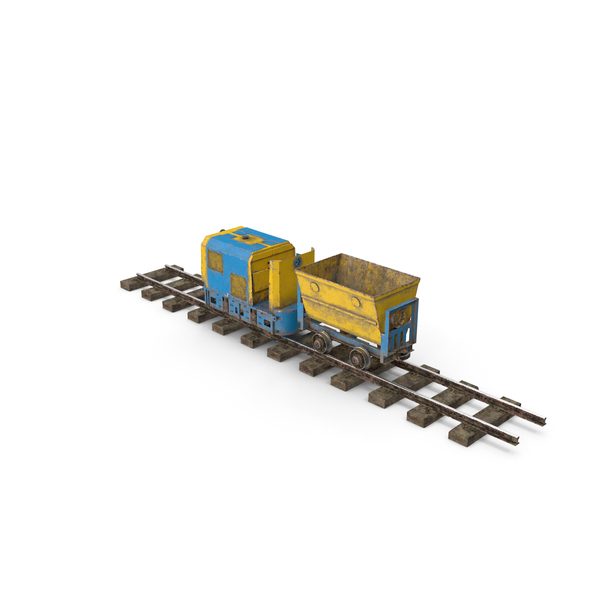 Cart: Mining Locomotive with Minecart on Railway Section Dusty PNG & PSD Images