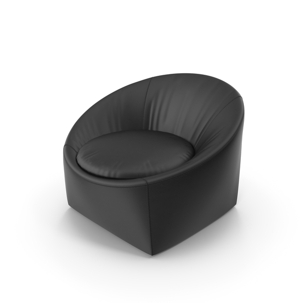 Chair: Minotti Black CAPRI Leather Aarmchair PNG & PSD Images