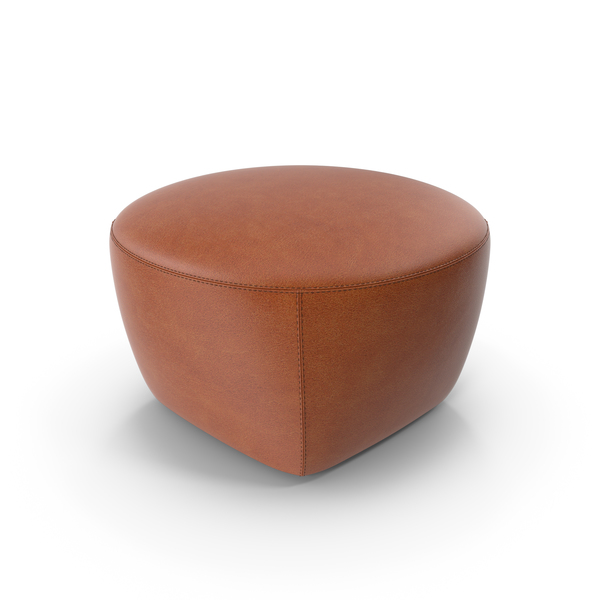 Minotti CAPRI Leather Pouf PNG & PSD Images