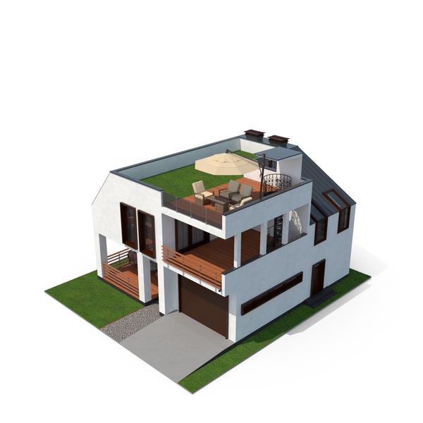 Modern House with Grass Roof Object