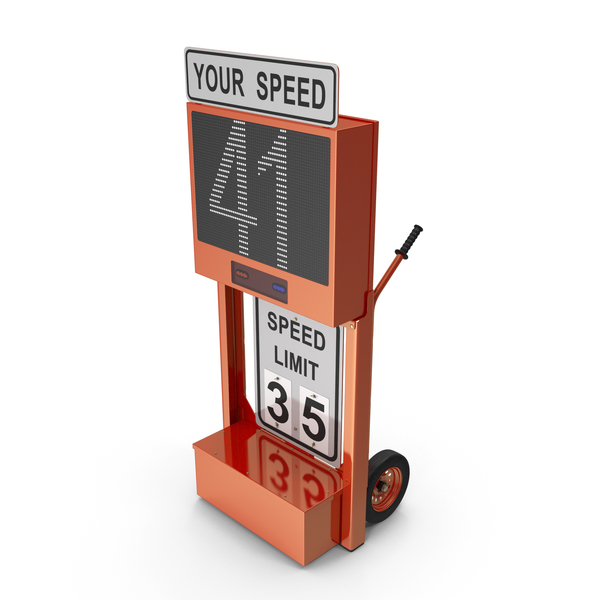Electronic Traffic Sign: Modular Speed Display Dolly PNG & PSD Images