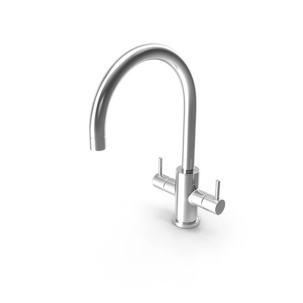 Faucet: Monobloc Dual Lever Kitchen Mixer Tap Chrome PNG & PSD Images