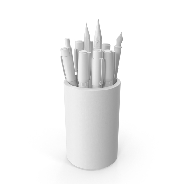 Pen Holder: Monochrome Artist Cup PNG & PSD Images