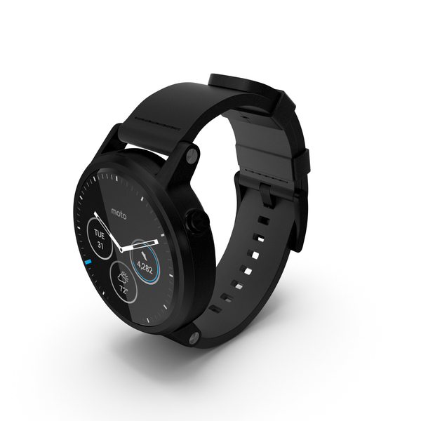 Moto 360 2nd Gen Black Leather Band PNG & PSD Images