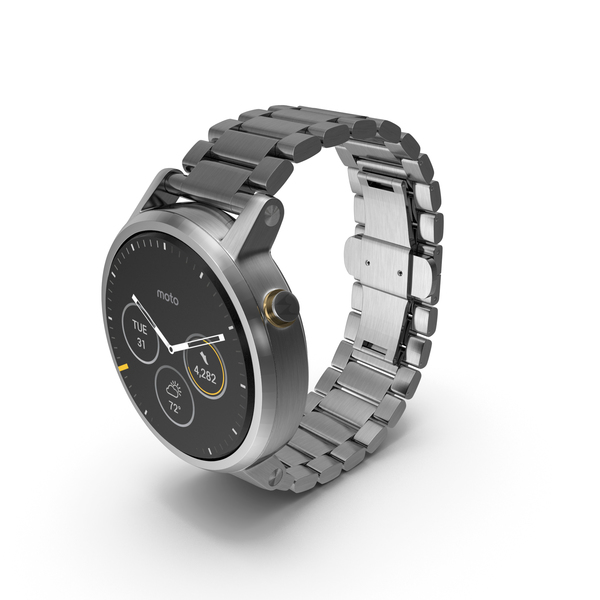 Moto 360 2nd Gen Silver Wristwatch PNG & PSD Images