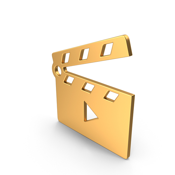 Movie Clapper Open Symbol Gold PNG & PSD Images