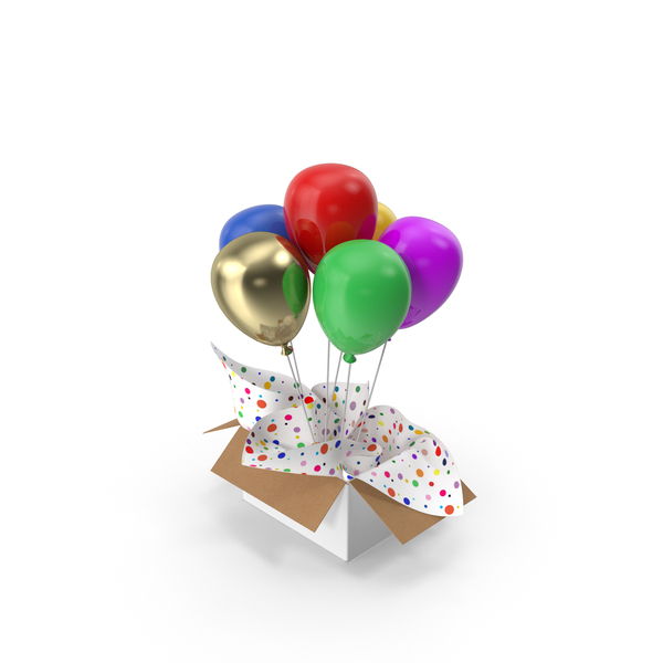 Multicolored Balloons Surprise Box PNG & PSD Images