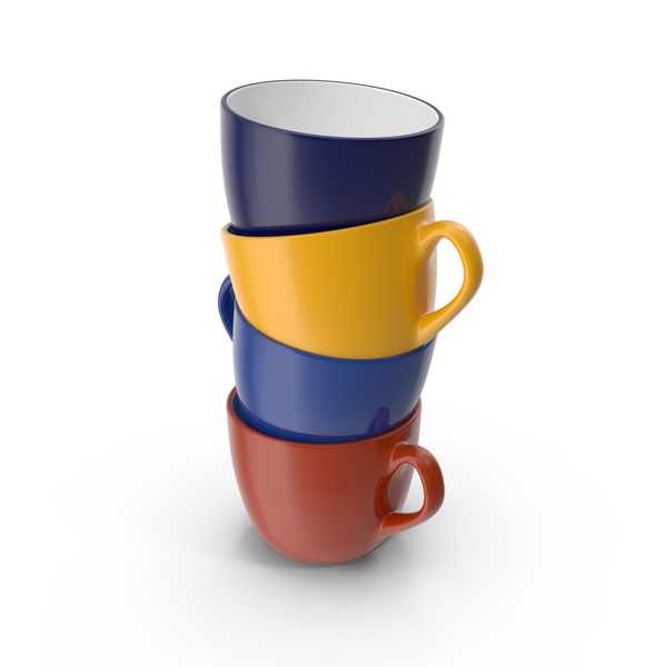 Multicolored Stack of Coffee Cups PNG & PSD Images