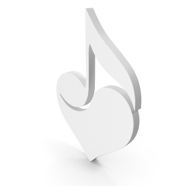 Musical Note: Music Heart White PNG & PSD Images