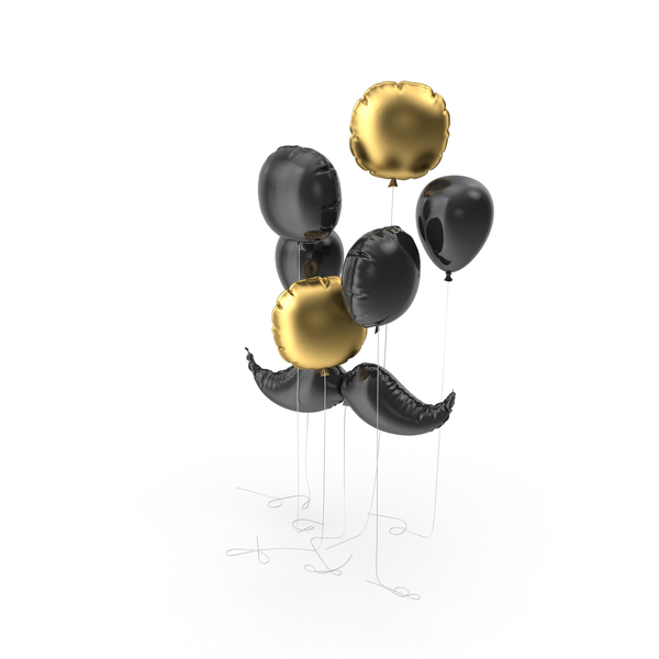 Mustache Balloon with Gold and Black Balloons Set PNG & PSD Images