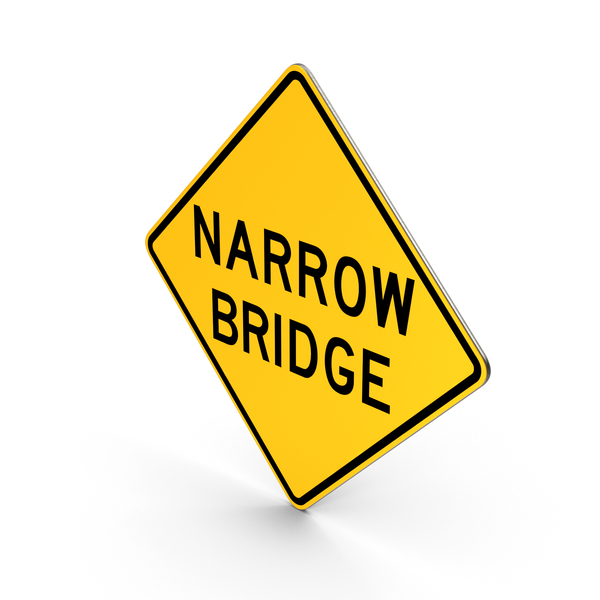 Traffic Signs: Narrow Bridge Sign PNG & PSD Images