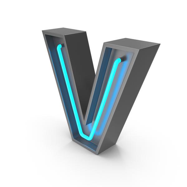 Neon Letter V PNG & PSD Images