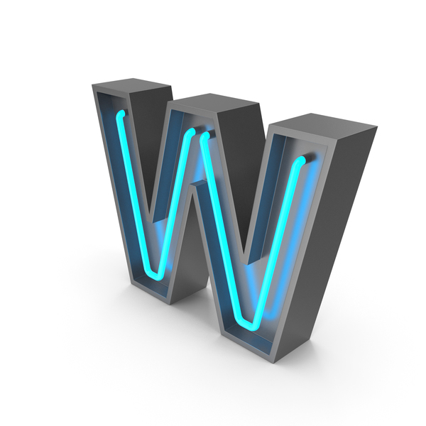 Neon Letter W PNG & PSD Images