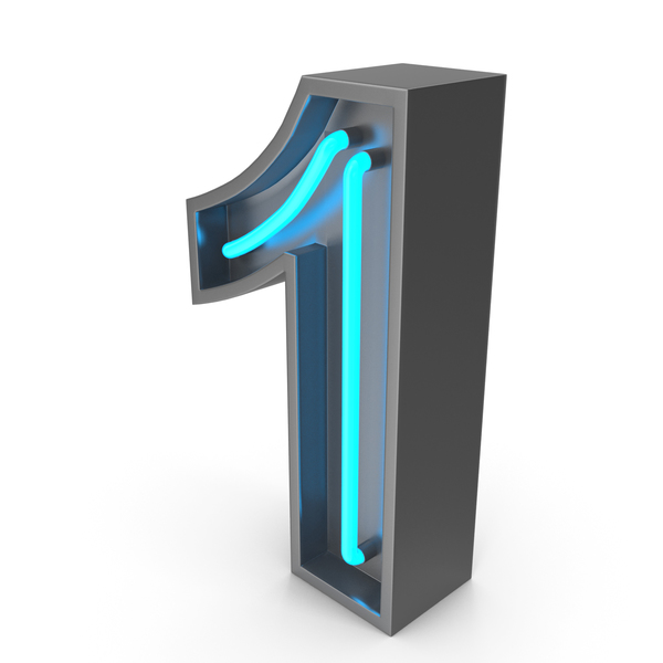 Neon Number 1 PNG & PSD Images