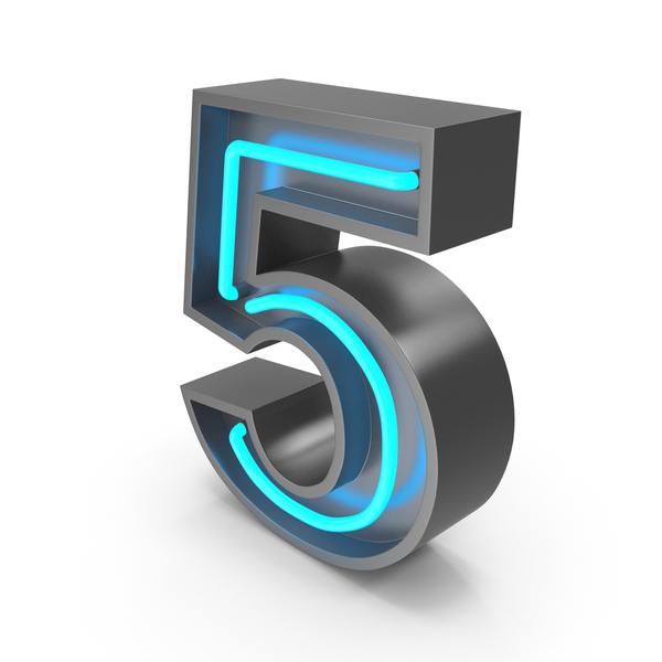 Neon Number 5 PNG & PSD Images